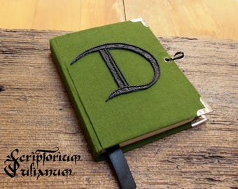Personalized journal, initial journal, letter D journal, green notebook, lockable journal, closable journal,gift for him her, Mothers day