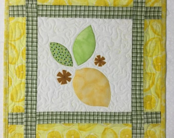 Whimsical lemon quilted wall hanging or table topper quilt for spring or summer #310