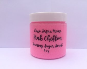 Pink chiffon foaming sugar scrub/ sugar scrub/ skincare/ body wash/ paraben free