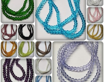 4mm glass beads, Round glass beads, Glass beads, 4mm beads, 4mm round beads, Round beads, Beads, Jewellery making, Craft beads, 4mm rounds