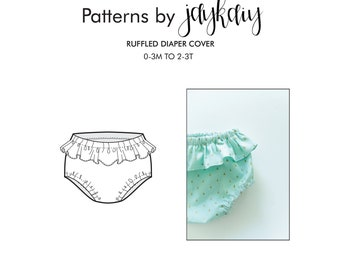 Ruffled Diaper Cover Pattern - Diaper Cover with Ruffle Pattern - Baby Diaper Cover Pattern - Diaper Cover - Nappy cover - Ruffle Bloomer