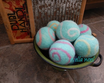 Ovella Wool Dryer Balls: The Doces Swirl Collection - set of 6 six unscented, colorful, teal, pink, green, purple, orange, sheep, reusable