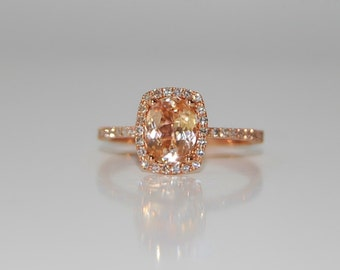 1.56ct Cushion apricot peach champagne sapphire in 14k rose gold diamond ring