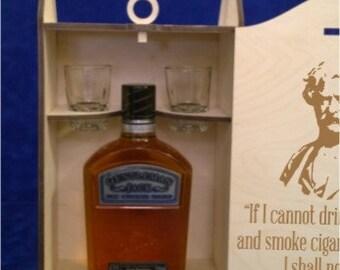 BW 403 Single Bottle Short 750 ml Spirits Box with two 2 oz. shot glasses