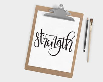 Hand Lettered Word of the Year - Strength - INSTANT DOWNLOAD