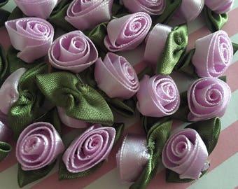 50pcs Lavender Purple Satin Roses w/Leaves Fabric Rosette Small Satin Rose Flowers  Mini Ribbon Roses Purple Ribbon Rose Rosebuds Rose bud