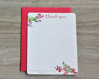 Personalized Christian Stationery Set | Flat Note Cards |  Scripture Stationery | Watercolor Spring Floral Corners Red | Set of 12+Envelopes