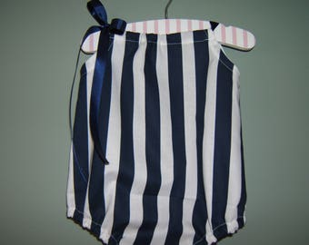 Girls Nautical Bubble Romper, Navy Stripes, Beach Romper, Vacation Romper, Baby Shower Gift, Birthday Outfit, Beach Vacation, Coming Home