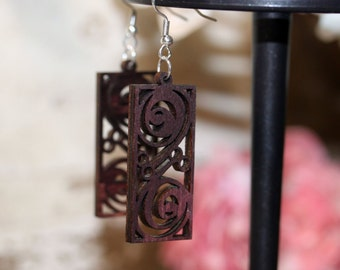 Woodcut Earrings - surgical steel, light wood, light weight,  granola girl gift, birch wood, valentines gift, birthday