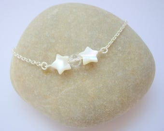 Bracelet Duo with mother of Pearl - silver stars