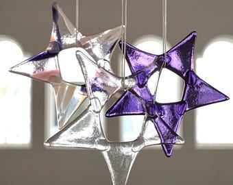 Fused glass suncatchers, set of 3 stars, purple pink and clear stars, colorful glass suncatchers, pink glass star, ultraviolet glass art
