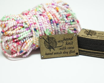 Knit with Care care labels for knit items with holes for attaching