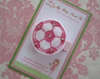 Girl hair clips - soccer hair clips - girl barrettes - sport barrettes