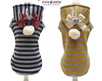 Stripe sweatshirt with eco fur internal for dogs. 2 colors available. TG. XS-S-M-L-XL- . S-M dachshund