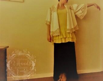 Vintage Linen & Lace Recycled Bolero Jacket