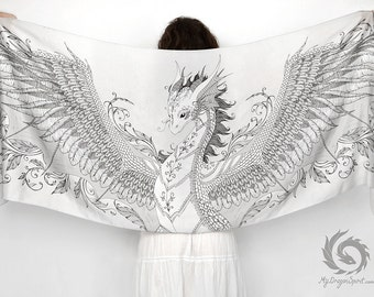 White silk scarf with a silver phoenix dragon - Fantasy shawl, Feathered dragon wings, Little guardian, Fairytale wedding, Mystical creature