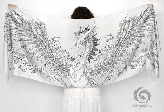 White silk scarf with a silver phoenix dragon