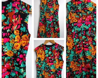 Lovely vintage 1960s 1970s psychedelic dress 12 floral bright
