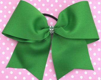 Cheer Bow, Large Cheer Bow, Ponytail Bow, Softball Bow, Green Cheer Bow, Soccer Bow, Team Bow, Blinged Bow, Bow, Sports Bow, Hair Bow, Bow