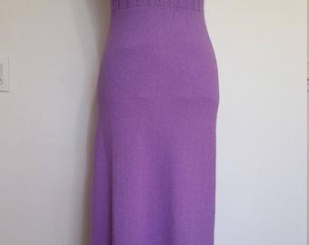 Purple maxi dress, S, M, knit maxi dress, knit dress, 70's dress, vintage 70s, purple dress, lavender dress