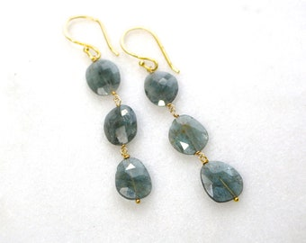 Deepest Sea Blue Moss Aquamarine Triple Drop Nugget Earrings in Gold...