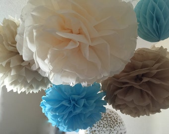 10 Tissue Pom and lantern set - Robin's Egg Blue and gold decorations - Blue Turquoise and Neutral Tan Cream - wedding blue and gold