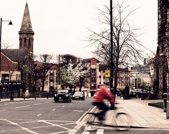 Urban Street Photography - Cyclist - Belfast Northern Ireland - Limited Edition Print - 8x12, 12x18, 16x24, 20x30, 24x36