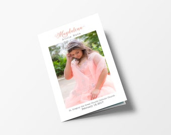 """Quinceanera Programs, 8.5"""" X 11"""" folded to 8.5"""" X 5.5"""", Quinceañera Court, Quinceañera Program, Venue program"""