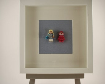 Alice in Wonderland & The Cheshire Cat Lego mini Figures framed picture 25 by 25 cm