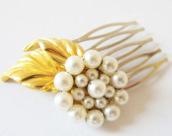Nostalgic Pearl No.57 - Vintage Faux Pearl Flower and Golden Leaves Assemblage Hair comb - CLEARANCE