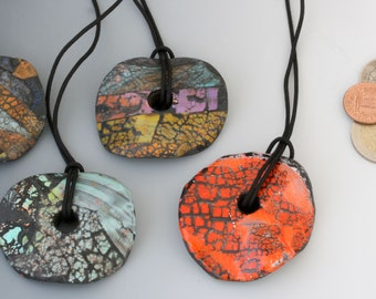 Colorful polymer clay adjustable necklaces, handmade clay pendants.