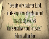 Edgar Allan Poe Sensitive Soul Quote on Vintage Autograph Book Page Printable ~ Instant Download