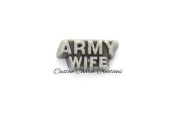 Army Wife • Floating Locket Charm • United States Military • Memory Charm - MIL21
