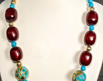 """Vintage '80's Oxblood Beads with Chinese """"Gold"""" Vintage Beads"""