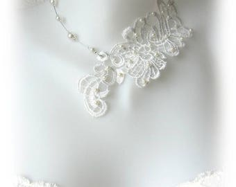 Bridal ivory lace, beaded, Lucille, handmade necklace collar