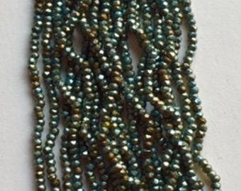 RARE - Antique Metal Cut MICRO Beads -Soft Blue - 1 hank