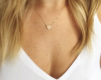 Dainty geometric 14k gold filled / sterling silver triangle charm necklace Necklace