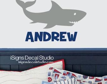 SHARK Wall Decal - Shark Decal - Boys Room Decal -  Custom Name Decal - Name Shark Decal - Vinyl Wall Decal