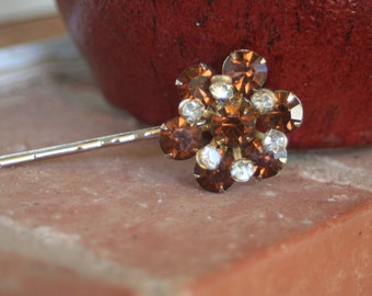 H58 Vintage Chocolate Brown Rhinestone Gray Diamond Upcycled  Hair Pin