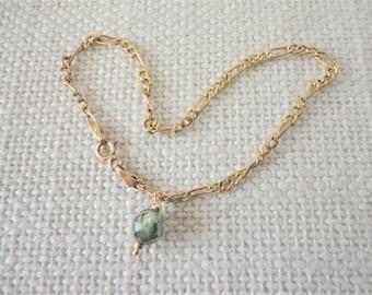 1 CT, danty, blue diamond bracelet, 14K yellow gold link bracelet with diamond, diamond bracelet gold, blue diamond jewelry, gift for wife
