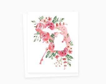 Rosy Michigan Card, Michigan Watercolor Card, Watercolor Flowers, Watercolor Cards, Watercolor Notecards, Michigan Stationery, Michigan Gift