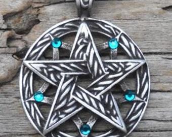 Pewter Double Pentagram Celtic Pagan Pentacle Pendant with Swarovski Crystal Blue Topaz DECEMBER Birthstone (56I)