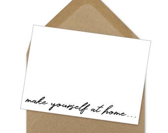 make yourself at home... printable card | hospitality card, Airbnb card, vacation rental thank you, welcome card - A6