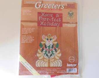JanLynn Sugarplum Greeters Plastic Canvas Kit Have a Purr-Fect Holiday Cat with Holly