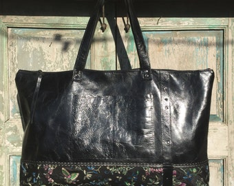 Handmade Black Italian Leather Weekender Bag, Diaper Bag, Work Bag,  Black leather Carry on Bag, with vintage Sari highlights