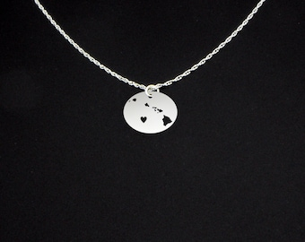 Hawaiian Islands Necklace - State Jewelry - Hawaii Gift - Hawaii Jewelry - Hawaii Necklace
