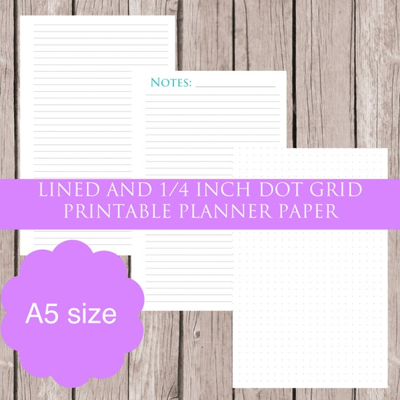 a5 lined and dot grid note paper printable planner inserts