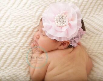 pink lace headband, newborn lace headbands, infant lace headband, girl lace headband, baby headband, girls headband, lace headbands