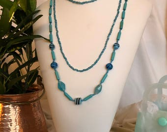 New turquoise and lampworked glass beads