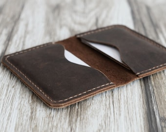 Personalized Leather  Business Card Holder 110/ Distressed Leather / Mens Wallet / Card Wallet / Slim Wallet / Minimal Leather Wallet